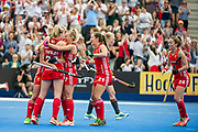England celebrate Alex Danson's goal. England v The Netherlands, Lee Valley Hockey and Tennis Centre, London, England on 11 June 2017. Photo: Simon Parker