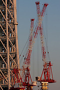 Tokyo Sky Tree under construction. Oshiage, Tokyo, Japan. Friday February 4th 2011. When finished this telecommunications tower will measure 634 metres from top to bottom making it the tallest structure in East Asia..