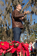 U.S. Senator and GOP presidential candidate Ted Cruz addresses supporters fduring a campaign event at Ottawa Farms December 19, 2015 in Bloomingdale, Georgia.