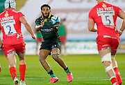 Northampton Saints flanker Lewis Ludlam catches a pass during the Gallagher Premiership Rugby match Northampton Saints -V- Sale Sharks won by Sale 34-14 at Franklin's Gardens, Northamptonshire ,England United Kingdom, Tuesday, September 29, 2020. (Steve Flynn/Image of Sport)