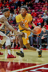 NORMAL, IL - February 05: Javon Freeman at the baseline defended by Zach Copeland during a college basketball game between the ISU Redbirds and the Valparaiso Crusaders on February 05 2019 at Redbird Arena in Normal, IL. (Photo by Alan Look)