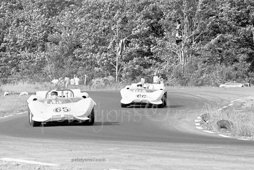 Jim Hall leading team mate Hap Sharp in their Chaparral-Chevy 2s during 1965 USRRC race at Watkins Glen; Photo by Pete Lyons 1965/© 2015 Pete Lyons/petelyons.com