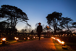 © Licensed to London News Pictures 25/11/2016, Woodstock, UK. The gardens of Blenheim Palace are lit up with festive lights for the christmas season inclduing the fire pot decorated rose garden.Photo Credit : Stephen Shepherd/LNP