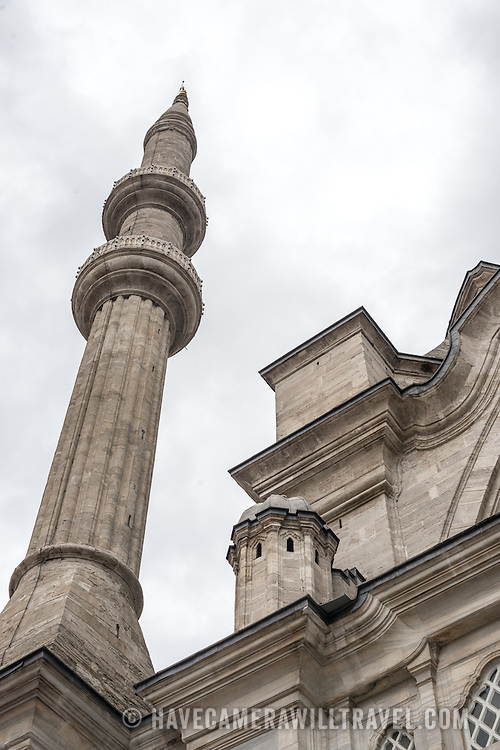 One of the two minarets of Nuruosmaniye Mosque. Nuruosmaniye Mosque, standing next to Istanbul's Grand Bazaar, was completed in 1755 and was the first and largest mosque to be built in Ottoman Baroque style.