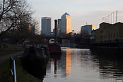 Canary Wharf rises lit up at sunset on Regents Canal in East London, England, United Kingdom. The contrast is strong between the natural surroundings of the waterway and the financial district high rise skyscrapers in the distance. (photo by Mike Kemp/In Pictures via Getty Images)