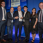 Swisscom, Ericson, Oppo and Qualcomm winner of the Best 5G Network Development in Europe of the 5G Awards ceremony at Drapers' Hall, on 12 June 2019, London, UK.