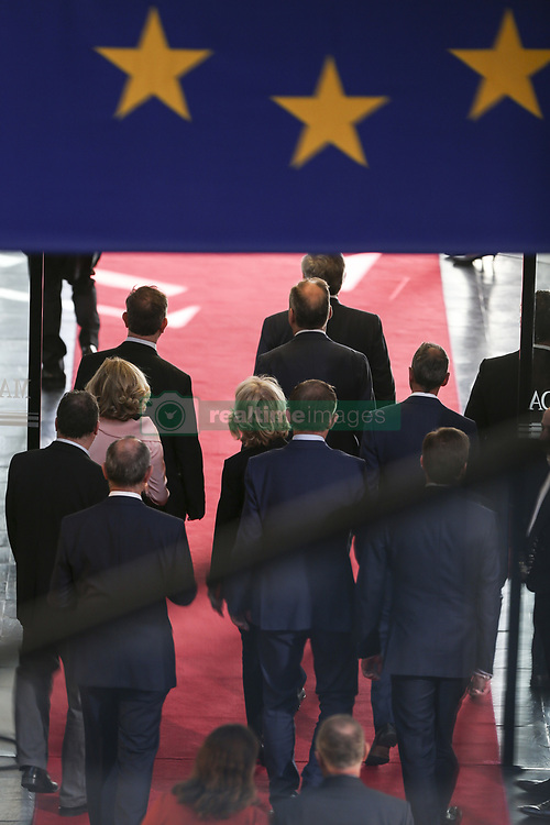 April 17, 2018 - French President Emmanuel Macron stands next to European Parliament President Antonio Tajani on April 17, 2018 at the EU parliament in the eastern French city of Strasbourg. French President Emmanuel Macron arrived to address the European Parliament for the first time in a bid to shore up support for his ambitious plans for post-Brexit reforms of the EU. (Credit Image: ©  via ZUMA Wire)