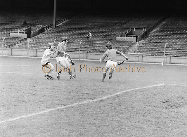 Antrim blocks London as his team mate clears the ball up field during the All-Ireland Senior B Hurling Championship Antrim v London at Croke Park on the 25th of June 1978. Antrim 1-16 London 3-7.