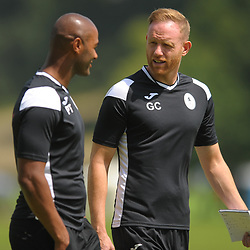 Telford manager Gavin Cowan chats to assistant Phil Trainer as AFC Telford United return to pre-season training at Lilleshall National Sports Centre on Saturday, June 29, 2019.<br /> <br /> Free for editorial use only<br /> Picture credit: Mike Sheridan/Ultrapress<br /> <br /> MS201920-003
