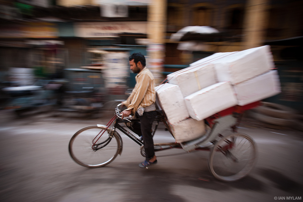 Bicycle Rickshaw Delivering Parcels - Chandni Chowk, Old Delhi, India
