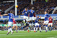 James McCarthy of Everton heads the ball clear. Barclays Premier League match, Everton v Aston Villa at Goodison Park in Liverpool on Saturday 21st November 2015.<br /> pic by Chris Stading, Andrew Orchard sports photography.