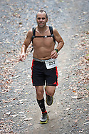 Rosendale, New York - First-place men's finisher Jason Beaupre nears the finish line in the Shawangunk Ridge Trail Run/Hike 20-mile race on Sept. 20, 2014.