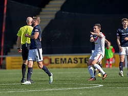 Airdrie's Ryan Conroy points to Raith Rovers Iain Davidson (4) who then got a red card from ref Alan Newlands after hitting Airdrie's Grant Gallagher. Airdrie 3 v 4 Raith Rovers, Scottish Football League Division One played 25/8/2018 at the Excelsior Stadium.