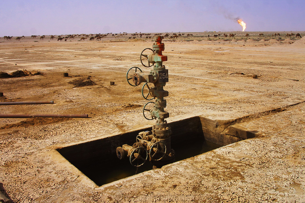 An undamaged oil well in Iraq's Rumaila Oil Field, in southern Iraq. Some of the wells were set on fire with explosives placed by retreating Iraqi troops when the US and UK invasion began. Seven or eight wells were set ablaze but at least one other was detonated but did not ignite. The Rumaila field is one of Iraq's biggest oil fields with five billion barrels in reserve. Many of the wells are 10,000 feet deep and are under high pressure from natural gas. The bigger blowouts are wasting 10,000 barrels a day. Rumaila is also spelled Rumeilah.