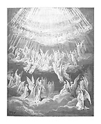 """Paradiso (""""Paradise"""" or """"Heaven"""") is the third and final part of Dante's Divine Comedy, following the Inferno and the Purgatorio. It is an allegory telling of Dante's journey through Heaven, guided by Beatrice, who symbolises theology. In the poem, Paradise is depicted as a series of concentric spheres surrounding the Earth, consisting of the Moon, Mercury, Venus, the Sun, Mars, Jupiter, Saturn, the Fixed Stars, the Primum Mobile and finally, the Empyrean. It was written in the early 14th century. Allegorically, the poem represents the soul's ascent to God.  From the Divine Comedy by 14th century Italian poet Dante Alighieri. 1860 artwork, by French artist Gustave Dore and engraved by Stephane Pannemaker, (1868), Cary's English translation of the work. Dante wrote his epic poem 'Divina Commedia' (The Divine Comedy) between 1308 and his death in 1321. Consisting of 14,233 lines, and divided into three parts (Inferno, Purgatorio, and Paradiso), it is considered the greatest literary work in the Italian language and a world masterpiece. It is a comprehensive survey of medieval theology, literature and thought. The new non-dialect poetic language Dante created became the basis of modern Italian."""
