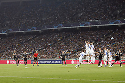 (L-R) Hakim Ziyech of Ajax, Lasse Schone of Ajax, referee Damir Skomina, Frenkie de Jong of Ajax, Josip Pivaric of Dynamo Kyiv, Serhiy Sydorchuk of Dynamo Kyiv, Mykyta Burda of Dynamo Kyiv Tamas Kadar of Dynamo Kyiv, Volodymyr Shepeliev of Dynamo Kyiv, Dusan Tadic of Ajax, Tomasz Kedziora of Dynamo Kyiv during the UEFA Champions League play offs round second leg match between Dynamo Kyiv and Ajax Amsterdam at the NSK Olimpiyskyi on August 28, 2018 in Kyiv, Ukraine