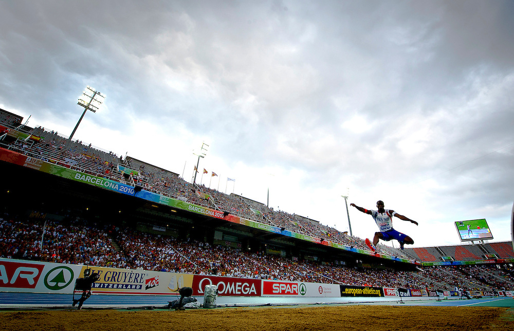 France's Teddy Tamgho  competes during the men's triple jump final at the 2010 European Athletics Championships at the Olympic Stadium in Barcelona on July 29, 2010