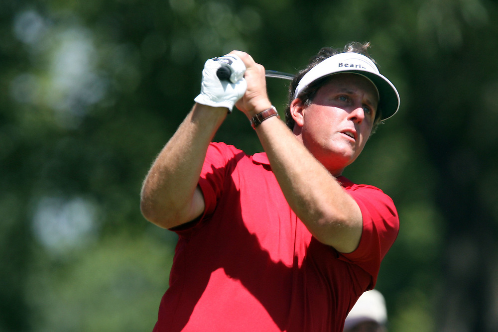 11 August 2007: Phil Mickelson tees off on the 4th hole during the third round of the 89th PGA Championship at Southern Hills Country Club in Tulsa, OK.