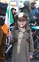 Casey Daniels, 5, at the centenary Easter Rising Parade at Cuffe Street in Dublin. Picture credit; Damien Eagers 27/3/2016