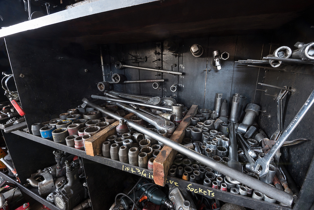 Tools in the shop or the historic Nevada Northern Railway in Ely, Nevada.