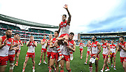 Lance Franklin of the Swans is chaired off after his 200th game after the 2014 AFL Round 21 match between the Sydney Swans and the St Kilda Saints at the SCG, Sydney on August 16, 2014. (Photo: Craig Golding/AFL Media)