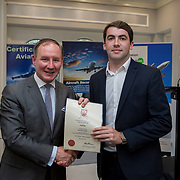 24.05.2018.       <br /> The Limerick Institute of Technology with Atlantic Air Adventures and funding from the Aviation Skillnet presented over forty certificates to Aviation professionals who have completed the Certificate in Aviation, The Aircraft Records Technician Level 7 and Part 21 Design, Level 7.<br /> <br /> Pictured at the event was Jim Gavin, The Irish Aviation Authority and Manager of the Dublin Football Team who presented, Niall Rea with their cert.<br /> <br /> LIT in partnership with Atlantic Air Adventures, CAE Parc Aviation, Part 21 Design and industry experts such as Anton Tams, GECAS, Don Salmon, CAE Parc Aviation and Mick Malone, Part 21 Design have developed and deliver these key training programmes with funding for aviation companies provided by The Aviation Skillnet.<br /> <br /> . Picture: Alan Place