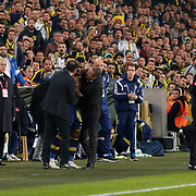Fenerbahce's Emmanuel Emenike (C) coach Ismail Kartal (3ndR) during their Turkish superleague soccer derby Fenerbahce between Besiktas at the Sukru Saracaoglu stadium in Istanbul Turkey on Sunday 22 March 2015. Photo by Aykut AKICI/TURKPIX