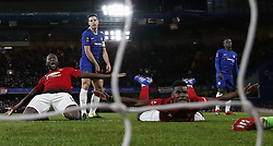 BRITAIN-LONDON-FOOTBALL-FA CUP-CHELSEA VS MAN UNITED.(190218) -- LONDON, Feb. 18, 2019  Manchester United's Paul Pogba (2nd R) and Manchester United's Romelu Lukaku (1st L) celebrate after scoring during the FA Cup fifth round match between Chelsea and Manchester United in London, Britain on Feb. 18, 2019. Manchester United won 2-0. FOR EDITORIAL USE ONLY. NOT FOR SALE FOR MARKETING OR ADVERTISING CAMPAIGNS. NO USE WITH UNAUTHORIZED AUDIO, VIDEO, DATA, FIXTURE LISTS, CLUB/LEAGUE LOGOS OR ''LIVE'' SERVICES. ONLINE IN-MATCH USE LIMITED TO 45 IMAGES, NO VIDEO EMULATION. NO USE IN BETTING, GAMES OR SINGLE CLUB/LEAGUE/PLAYER PUBLICATIONS. (Credit Image: © Xinhua via ZUMA Wire)