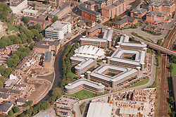 Aerial view of the Inland Revenue complex in Nottingham with the canal side development in the background