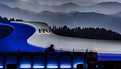 06.04.2019, Design Center, Linz, AUT, 34. Ordentlicher Landesparteitag der FPÖ Oberösterreich, im Bild Silhouette von FPÖ Bundesparteiobmann Vizekanzler Heinz Christian Strache // silhouette of FPÖ Federal Party Chairman Vice Chancellor Heinz Christian Strache  during the 34th Ordinary party convention of the FPÖ Upper Austria at the Design Center in Linz, Austria on 2019/04/06. EXPA Pictures © 2019, PhotoCredit: EXPA/ JFK