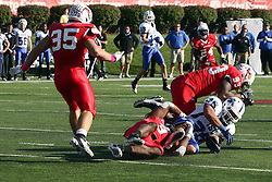 22 October 2011: Evan Frierson tackles Alex Jones during an NCAA football game  the Indiana State Sycamores lost to the Illinois State Redbirds (ISU) 17-14 at Hancock Stadium in Normal Illinois.