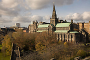 Glasgow Necropolis on the 2nd November 2018 in Glasgow in the United Kingdom. The Glasgow Necropolis is a Victorian cemetery in the east of Glasgow, next to Glasgow Cathedral. Fifty thousand individuals have been buried here.