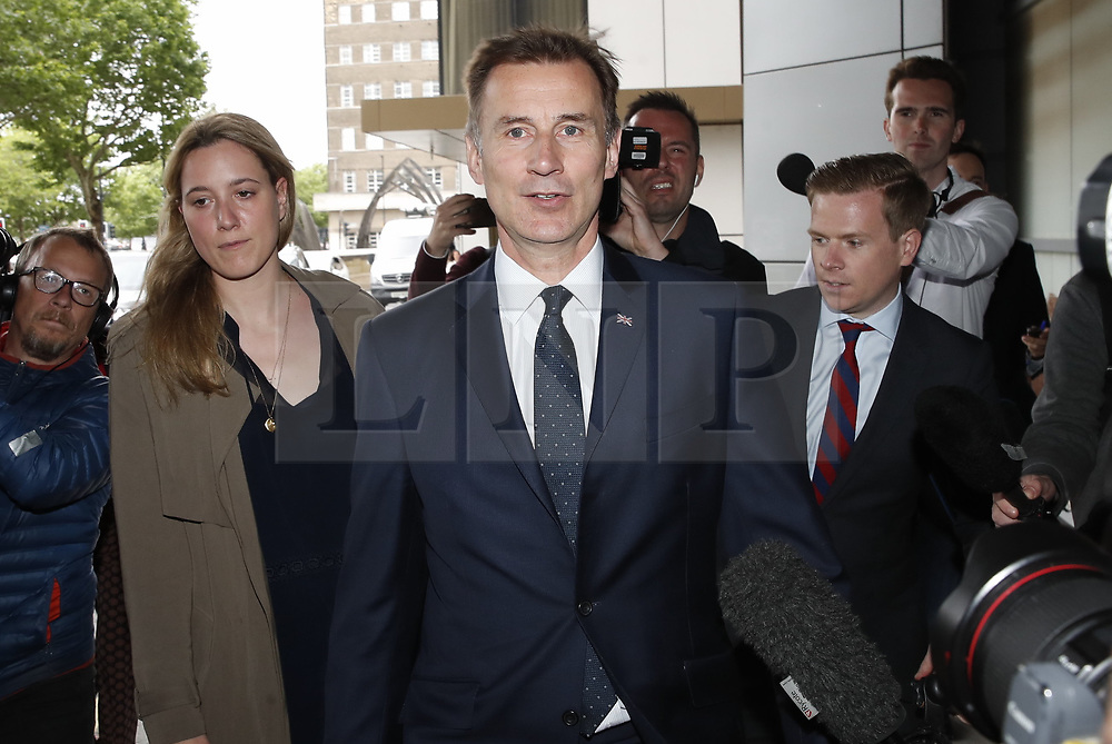 © Licensed to London News Pictures. 15/06/2019. London, UK. Conservative Party leadership candidate Jeremy Hunt arrives at a hustings event in central London. The remaining candidates in the leadership race will face a second round of votes in Parliament on Tuesday next week. Photo credit: Peter Macdiarmid/LNP