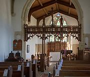 Interior of church at South Elmham St Peter, Suffolk, England, UK