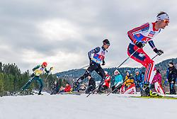 02.03.2019, Seefeld, AUT, FIS Weltmeisterschaften Ski Nordisch, Seefeld 2019, Nordische Kombination, Langlauf, Team Bewerb 4x5 km, im Bild v.l. Vinzenz Geiger (GER), Go Yamamoto (JPN), Espen Bjoernstad (NOR) // f.l. Vinzenz Geiger of Germany Go Yamamoto of Japan and Espen Bjoernstad of Norway during the Cross Country Team competition 4x5 km of Nordic Combined for the FIS Nordic Ski World Championships 2019. Seefeld, Austria on 2019/03/02. EXPA Pictures © 2019, PhotoCredit: EXPA/ Stefan Adelsberger