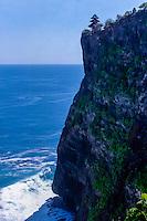 Bali, Badung, Uluwatu. Pura Luhur Uluwatu sits on the edge of a high cliff. Looking Northwest.