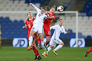 Svetlana Bortnikova of Kazakhstan (13) jumps for a header with Rachel Rowe of Wales (13).Wales Women v Kazakhstan Women, 2019 World Cup qualifier match at the Cardiff City Stadium in Cardiff , South Wales on Friday 24th November 2017.    pic by Andrew Orchard