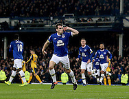 Seamus Coleman of Everton celebrates scoring the equalising goal during the English Premier League match at Goodison Park Stadium, Liverpool. Picture date: December 13th, 2016. Pic Simon Bellis/Sportimage