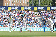 Moeen Ali of England scores runs during the 3rd day of the Investec Ashes Test match between England and Australia at the Oval, London, United Kingdom on 22 August 2015. Photo by Phil Duncan.