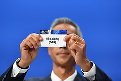 NYON, SWITZERLAND - Friday, July 10, 2020: Former Juventus and Borussia Dortmund player Paulo Sousa draws out the card of RB Leipzig during the UEFA Champions League and UEFA Europa League 2019/20 draws for the Quarter-final, Semi-final and Final at the UEFA headquarters, The House of European Football. (Photo Handout/UEFA)