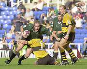 Reading Berkshire, 29/09/02<br /> London Irish vs Wasps,<br /> Exiles Paul Gustard, tackled by Paul Volley, ZURICH PREMIERSHIP RUGBY match at the, Madejski Stadium,  [Mandatory Credit: Peter Spurrier/Intersport Images]