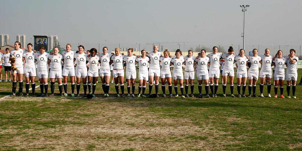 England during the anthems. Italy Women v England Women at Stadio Giulio e Silvio Pagani, Rovato, Italy on 16th March 2014 ko 1500
