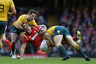 Ross Moriarty of Wales © is brought crashing down by an Australian tackle. Under Armour 2016 series international rugby, Wales v Australia at the Principality Stadium in Cardiff , South Wales on Saturday 5th November 2016. pic by Andrew Orchard, Andrew Orchard sports photography