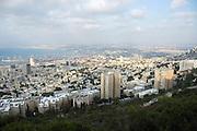 Israel, Haifa, Overlooking the Bay of Haifa from the Carmel Mountain The Haifa port in the background