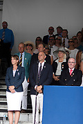 """Henley on Thames, United Kingdom, 8th July 2018, Sunday, Prizegiving, L to R, """"Dame Katherine GRAINGER"""", """"Chairman, Sir Steve REDGRAVE"""" and """"past Chairman, Mike SWEENEY"""",   """"Fifth day"""", of the annual,  """"Henley Royal Regatta"""", Henley Reach, River Thames, Thames Valley, England, © Peter SPURRIER, Prize Giving, , Prize Giver Dame, Katherine GRAINGER, Regatta Chairman, Sir Steve REDGRAVE,"""
