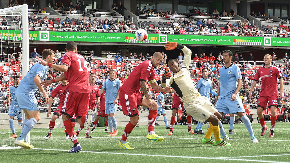 Ottawa Fury FC defender Onua Obasi (#14) and Ottawa Fury FC defender Rafael Alves (#33) during the NASL match between the Ottawa Fury FC and Minnesota United FC at TD Place Stadium in Ottawa, ON. Canada on May 7, 2016.<br /> <br /> PHOTO: Steve Kingsman/Freestyle Photography