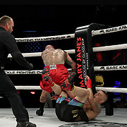 DAYTONA BEACH, FL - SEPTEMBER 11: Jacob Brunelle knocks down Rusty Crowder during the Bare Knuckle Fighting Championships at the Ocean Center on September 11, 2020 in Daytona Beach, Florida. (Photo by Alex Menendez/Getty Images) *** Local Caption *** Jacob Brunelle; Rusty Crowder