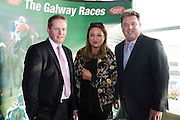 Michael Moloney Galway Race Course Manager and Nora Casey Publishing entrepreneur and Shay Livingstone, Connacht Hotel in the g hotel for the launch of The Galway Races 2016 Summer Festival which runs from the 25th of July to the 31st of July in Galway City. Photo: Andrew Downes :