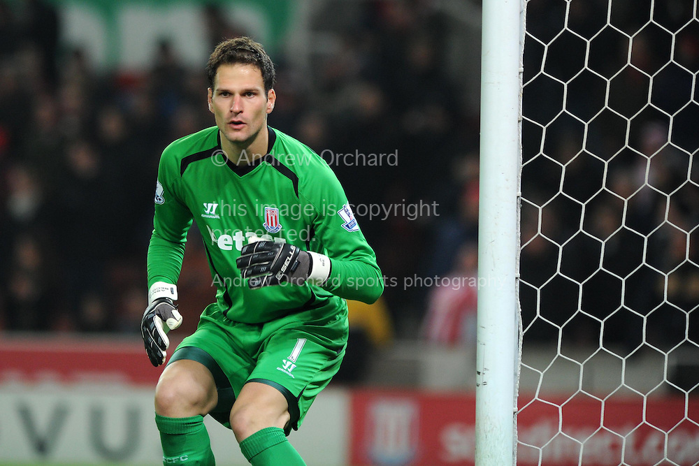 Stoke city goalkeeper Asmir Begovic looks on. Barclays Premier League match, Stoke city v Manchester city at the Britannia Stadium in Stoke on Trent , Staffs on Wed 11th Feb 2015.<br /> pic by Andrew Orchard, Andrew Orchard sports photography.
