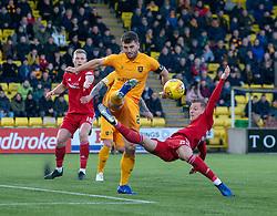 Livingston Craig Halkett and Aberdeen's Bruce Anderson.  Livingston 1 v 2 Aberdeen, SPFL Ladbrokes Premiership played 29/1/2018 at Livingston home ground, Tony Macaroni Arena.